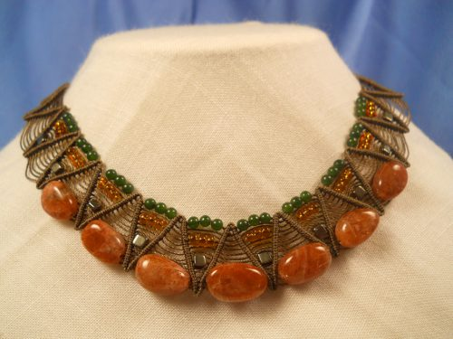 Hand knotted necklace by Rosemarie DiLernia and Chris Banikiotes