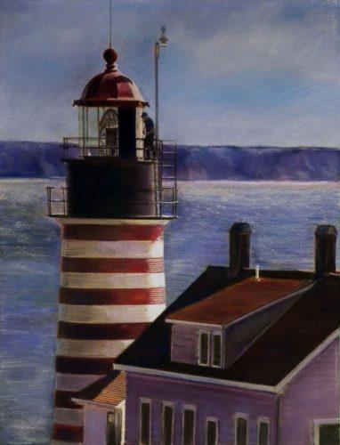 Jude Valentine, Lubec, West Quoddy Headlight, Lubec, Maine, 2013, 20x26, soft pastel on paper