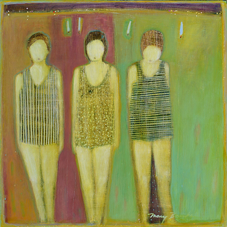 Mary Bourke, Lincolnville, Bathers, 2015, 18x18, acrylic on birch panel