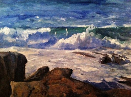 """Bill Curtis' oil painting, """"Pemaquid Point Surf"""""""