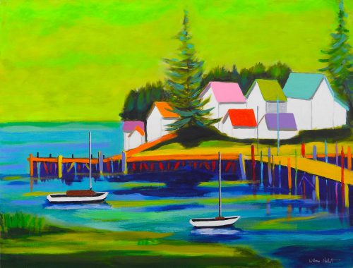 "Bill Hallett's ""Coastal Fantasy"" is representative of his uninhibited use of color in his coastal landscapes."