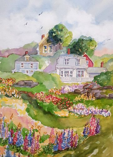 """Kathleen Horst of Damariscotta is inspired by the historic architecture of Maine villages.  Her painting, """"Stonington"""" reflects that inspiration."""