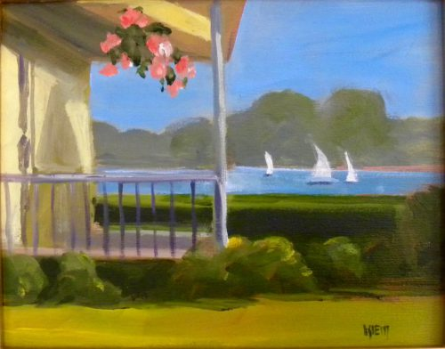 """""""Geraniums"""" by Barbara Klein  is typical of the visual memories she paints of the Bristol, Maine peninsula."""