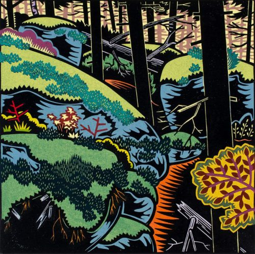 Holly Berry, Trail to the Top, Linocut, 10.5 x 10.5 inches