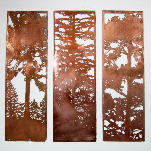 An example of a copper triptych by artist Judith Allen.