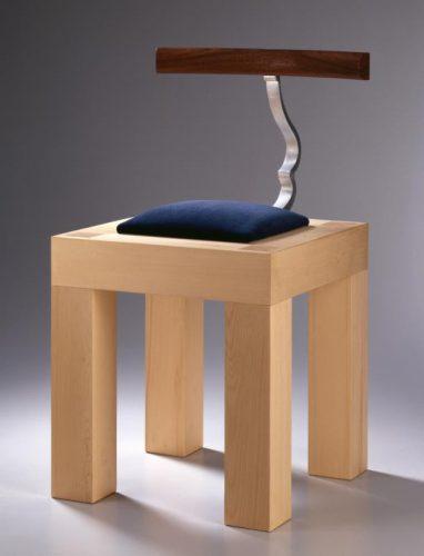 """Garry Knox Bennett, """"Stubby Stark Chair"""" Yellow Cedar, aluminum, upholstered velvet 29""""h x 16""""w x 22""""d"""