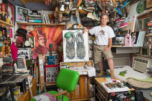 Artist KJ Shows in her studio, Kennebunk, Maine