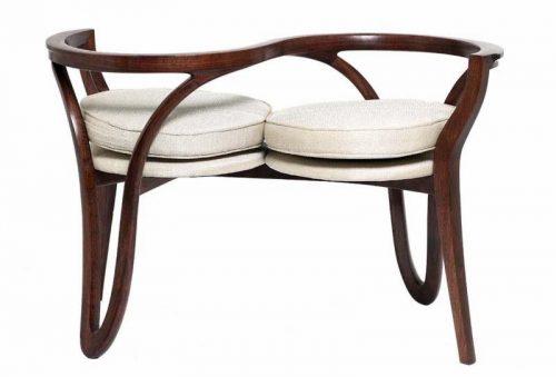 "Thomas Hucker, ""Courting Chair"" Walnut, Thai silk blend upholstery 25""h x 40""w x 18""d"