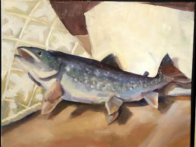 """Liz Cutler, """"The Painting of a Mackeral"""", 2016, oil on shellacked paper"""