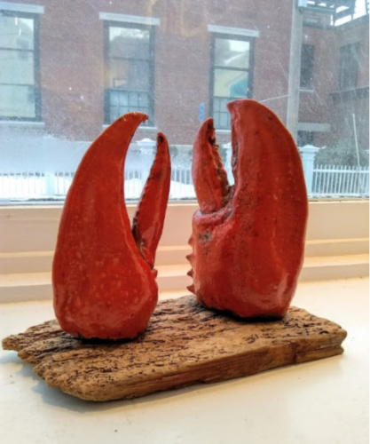 RED CLAWS ON WORMWOOD, 2017 raku fired clay 6 7/8 x 7 x 3 1/2 inches Anne Alexander