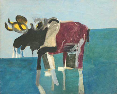 Lois Dodd (b. 1927), Moose, 1958, oil on linen, 32 x 42 inches, @Loise Dodd, courtesy Alexandre Gallery, New York
