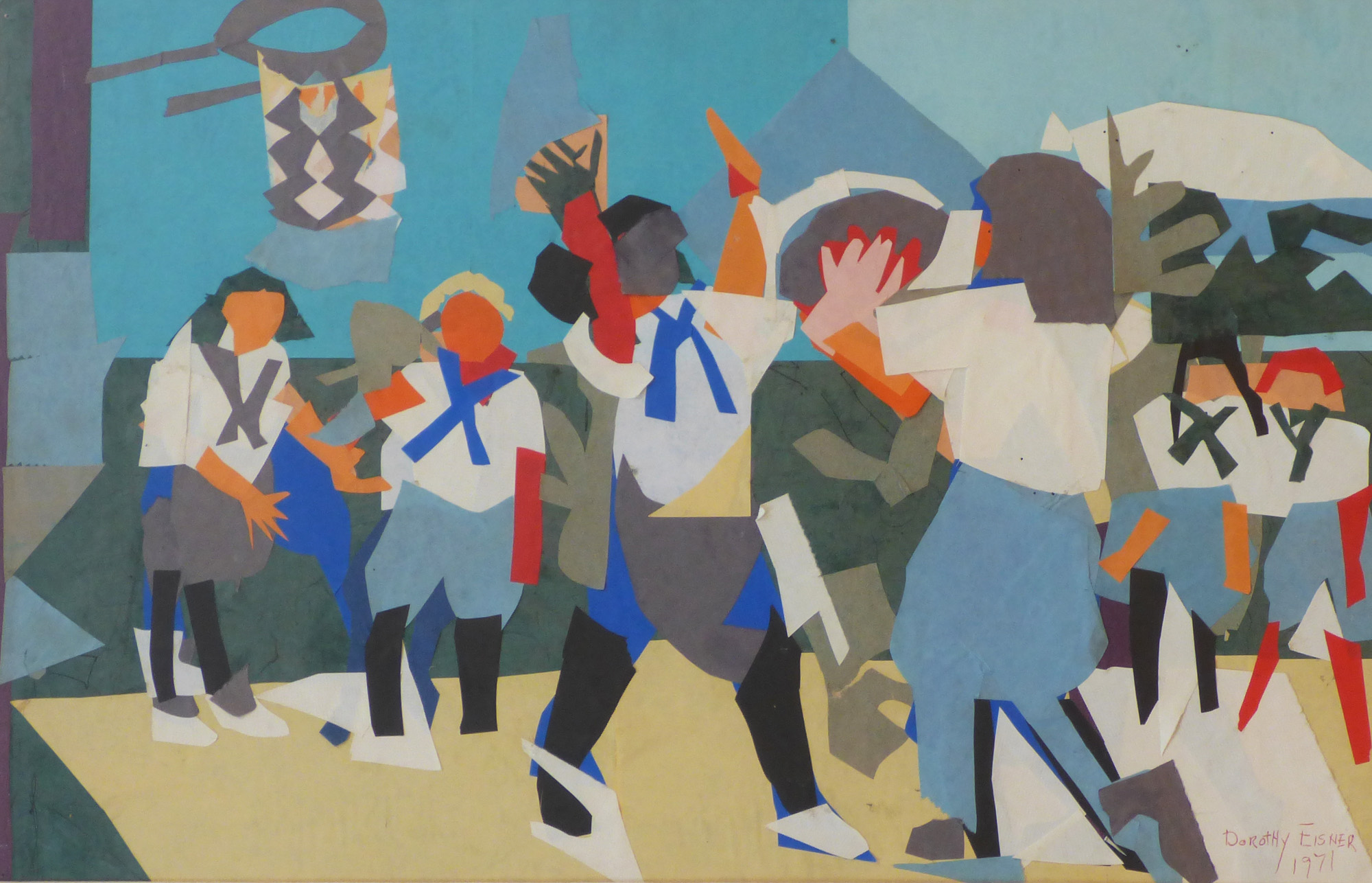 Dorothy Eisner, Camp Basketball collage, 14x22