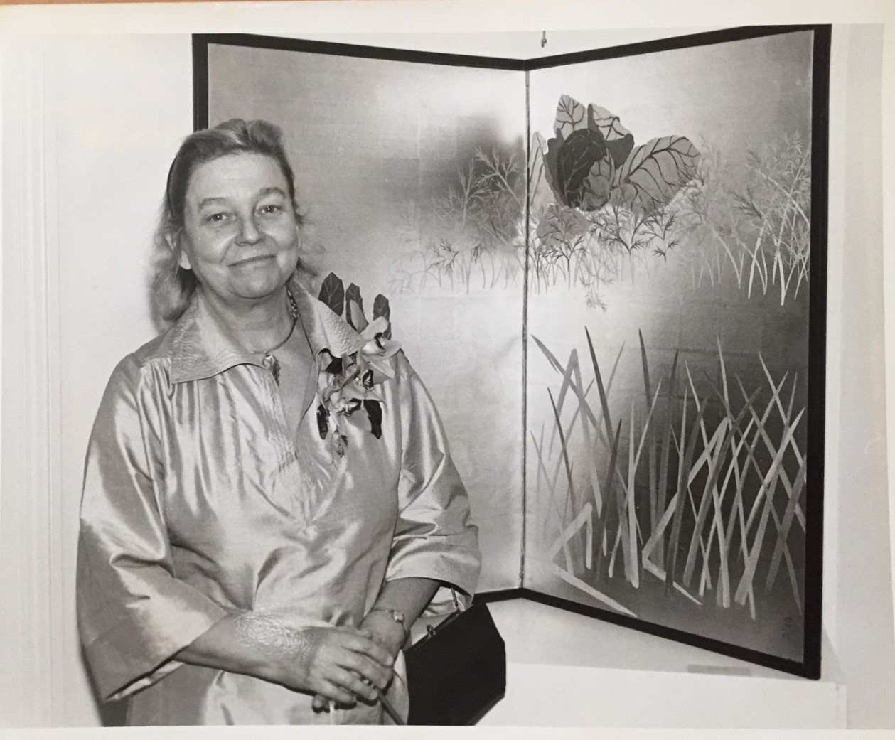 Sara Peabody with one of her painted screens