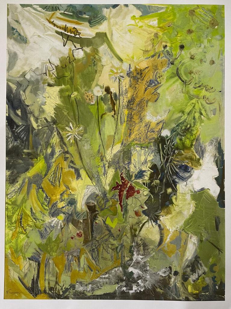 """Monhegan Spring"" oil on borad, 1972, NT Brown"