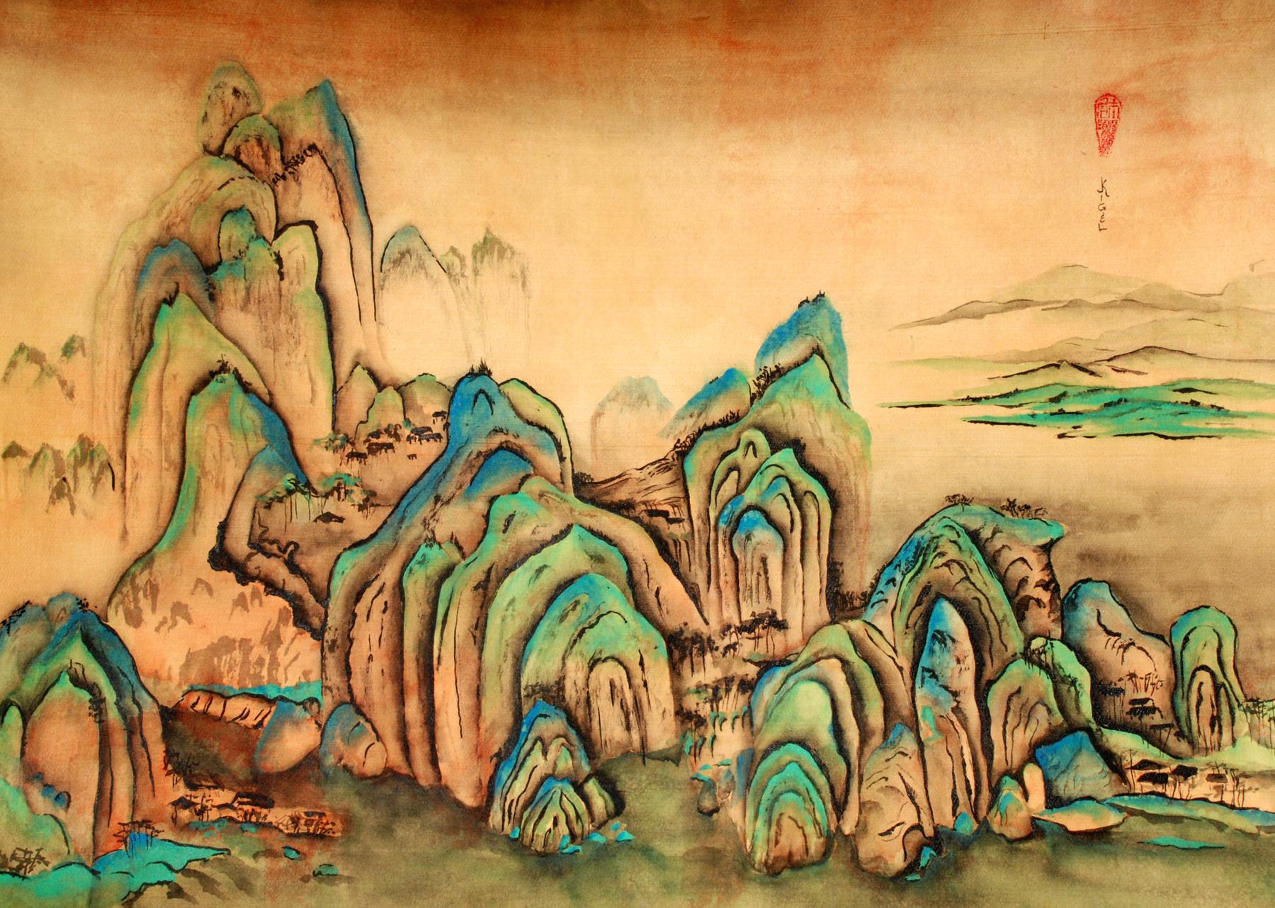 Sacred Peaks_Jean Kigel_Asian brush on silk_24x30