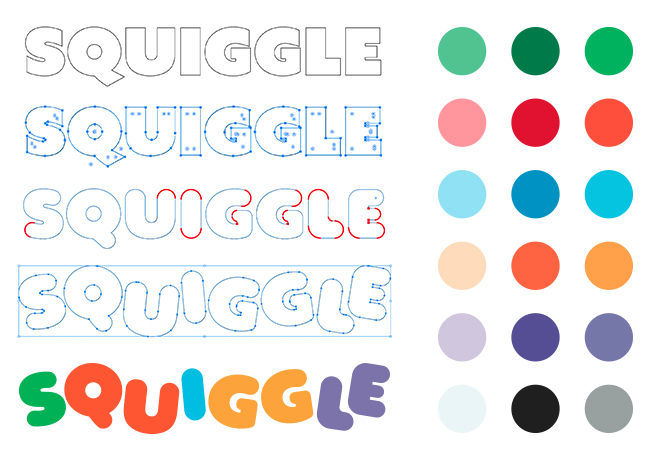Image of the logo progression for Squiggle Park.