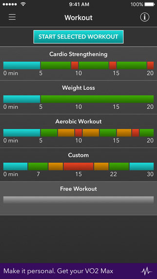 VO2 max mobile app workout screenshot