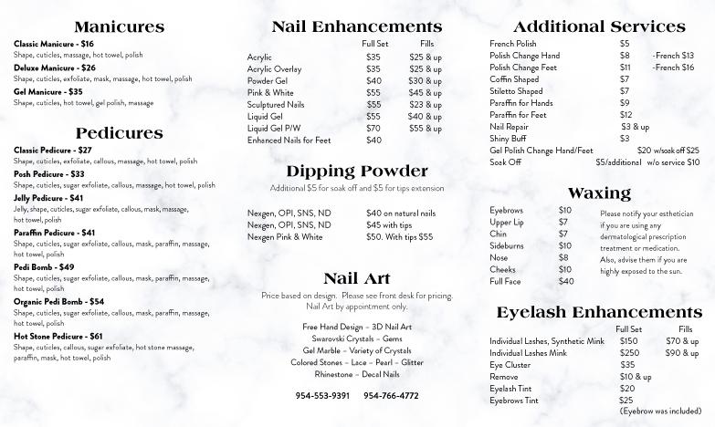posh nails menu plantation
