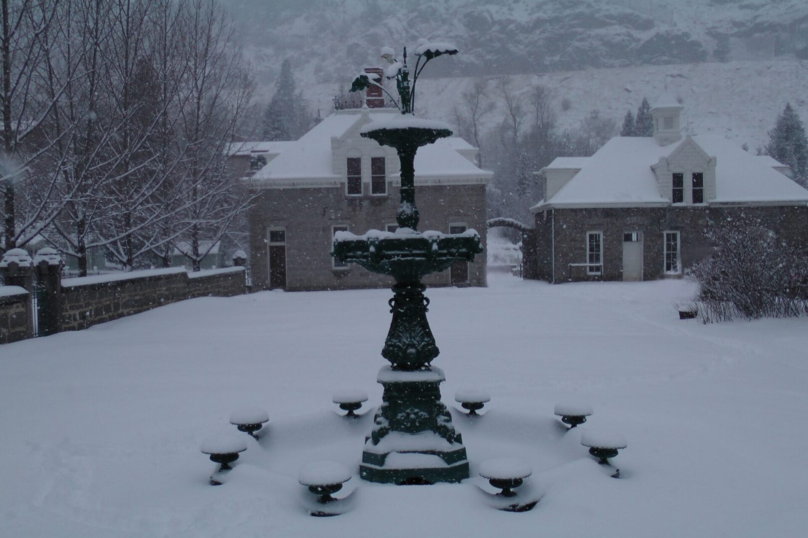 Hamill House Fountain Winter