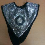 black & silver V collars