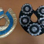 reversible black & silver many flowers_gold & blue stars Egyptian collars