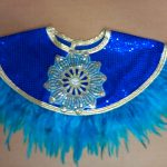 royal blue sequin w_teal feathers Egyptian collars