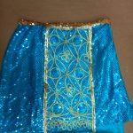 teal blue sequin skirt