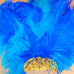 teal & royal blue w_gold feather headdresses