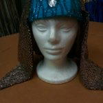 teal w_gold sequins draped cloth headpiece