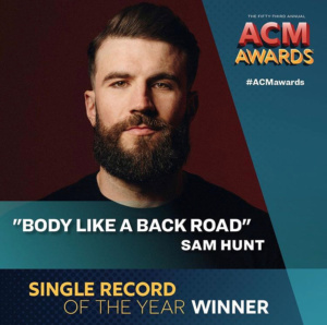 "Sam Hunt Wins Single of the Year with ""Body Like A Back Road"" at 2018 ACMs"