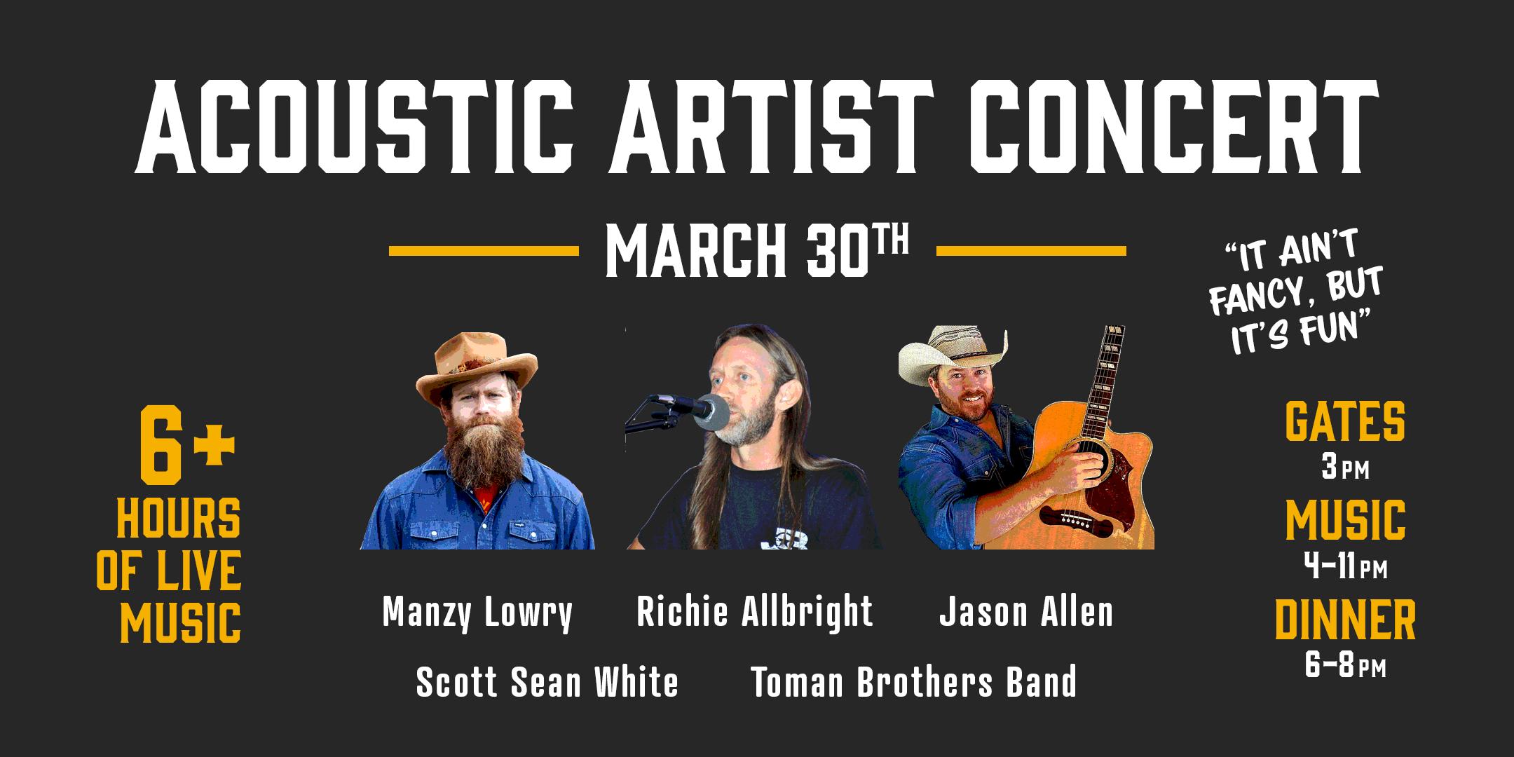"Press Release – ""Acoustic Artist Reunion"" March 30, 2019"