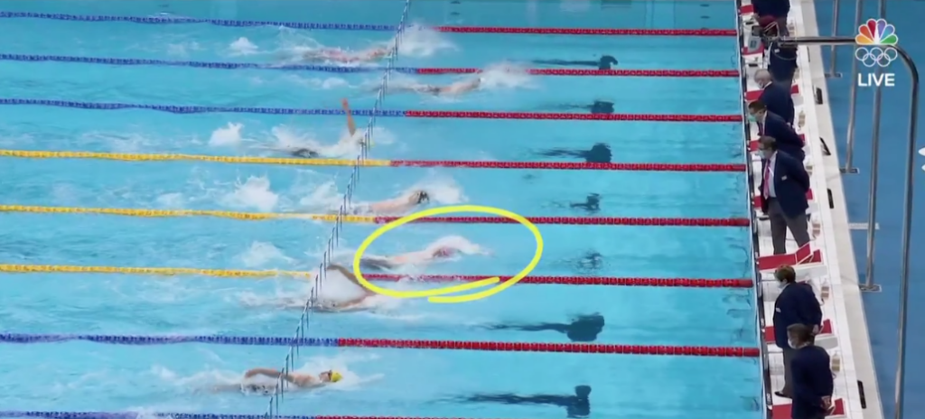 a screenshot from the 2020 Tokyo Olympic games. This was the 100 meter backstroke final.