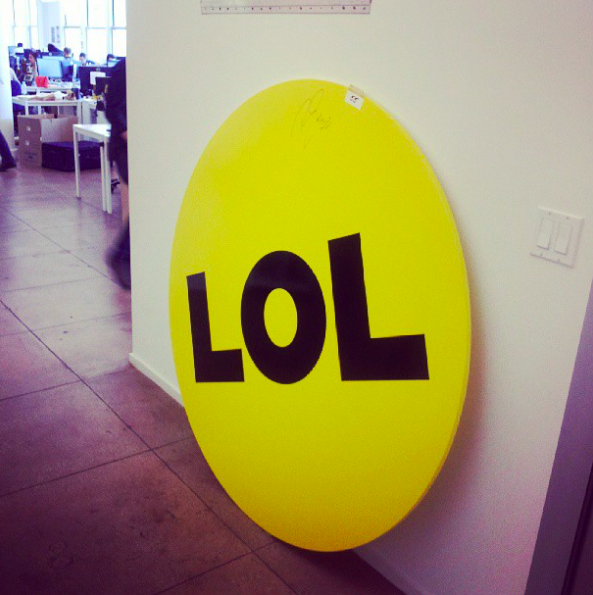 that's a photo of the LOL sign at the BuzzFeed office on 21st Street in New York.