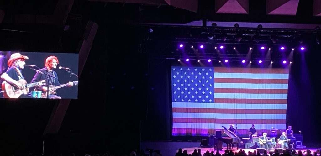 Willie Nelson on stage in Saratoga Springs