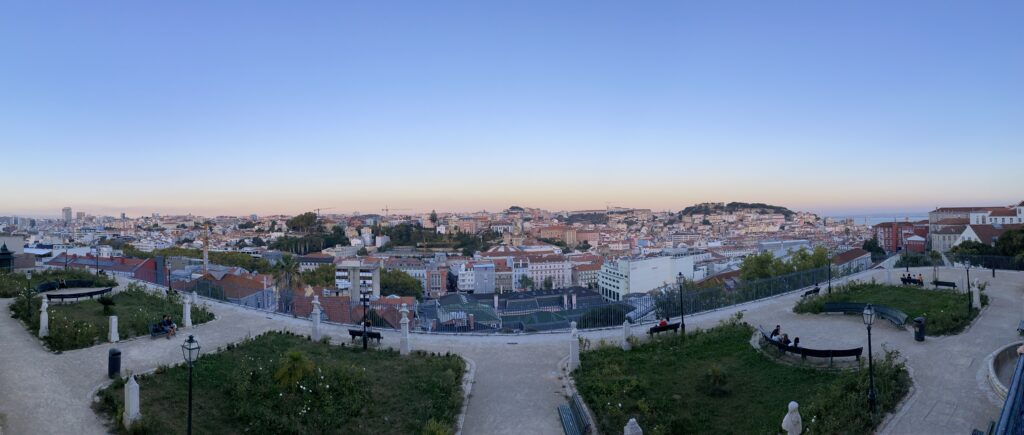 That's the view from the Bairro Alto in Lisbon at sunset.
