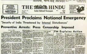 The Hindu Front Page on Emergency