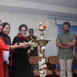Inaugural lighting of the lamp (from left): Ramya Kannan, NWMI Chennai; Bandita Panda, organising chair, Anna University; Raksha Kumar, NWMI; S Ganesan, registrar, Anna University; TM Krishna, chief guest; TV Geetha, dean, CEG, Anna University.