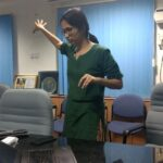 Shravya, resource person for the online safety workshop, makes a point