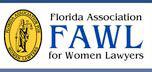 Florida Association of Women Lawyers yellow, black and blue logo