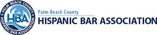 Hispanic Bar Association of Palm Beach County's white, baby blue and dark blue logo