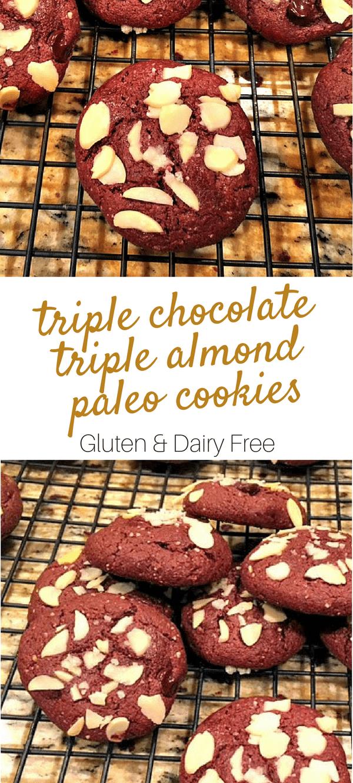 Triple Chocolate Triple Almond Paleo Cookies