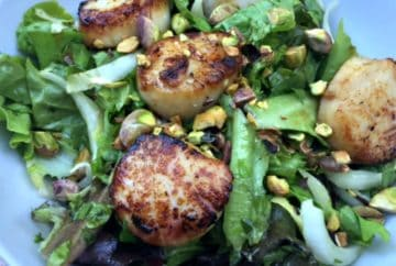 Endive and Lettuce Salad with Scallops and Pistachios