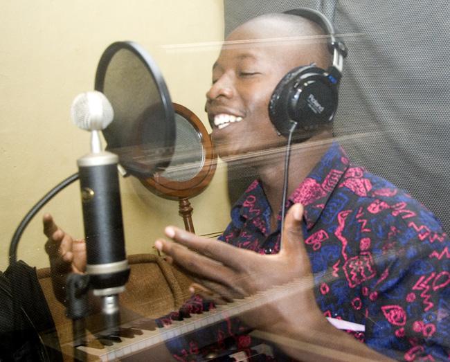 Recording in the studio, photograph #2. 09-28-07