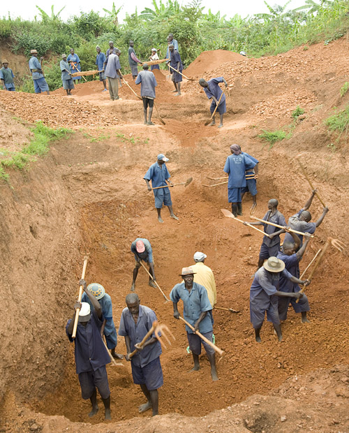 Raw materials for brick making are excavated from hillside soil