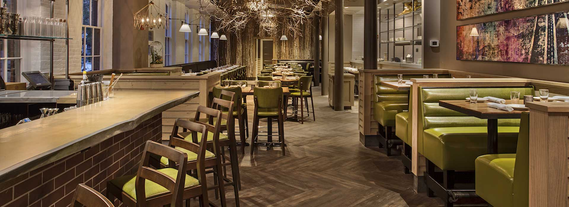 Restaurant booths, tables, and chairs by New England Seating
