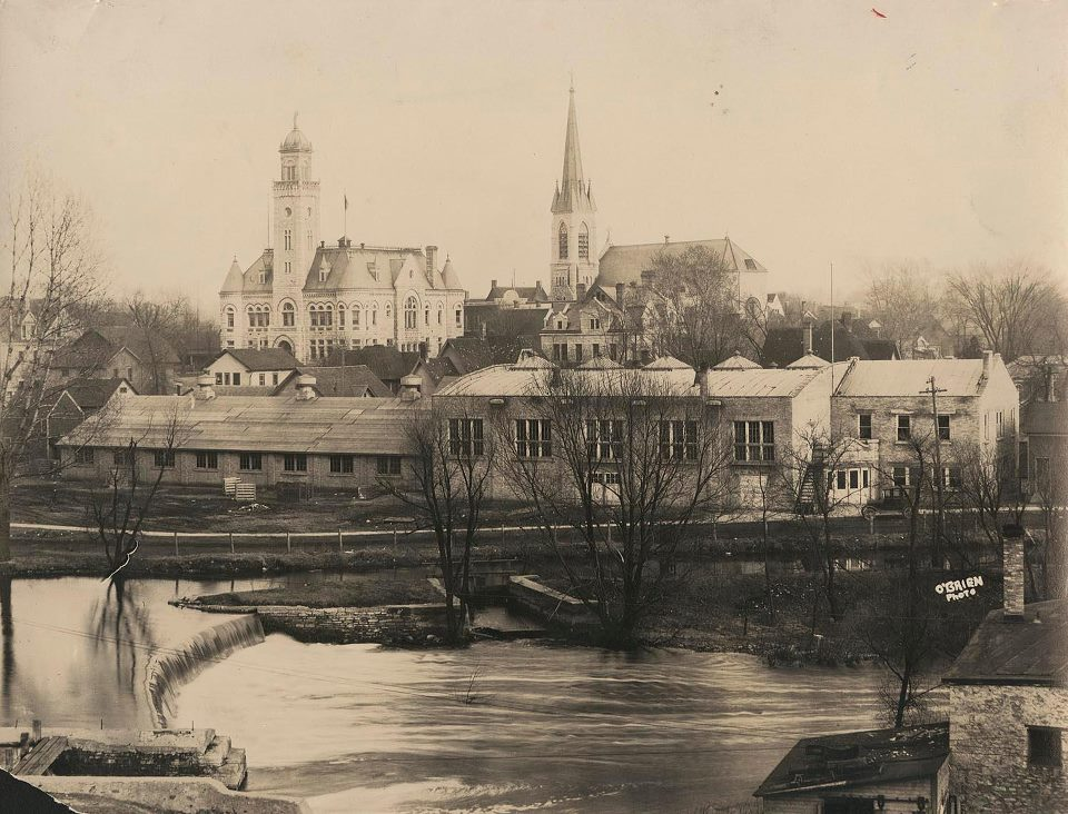 1920s aerial view with court house and Fox River
