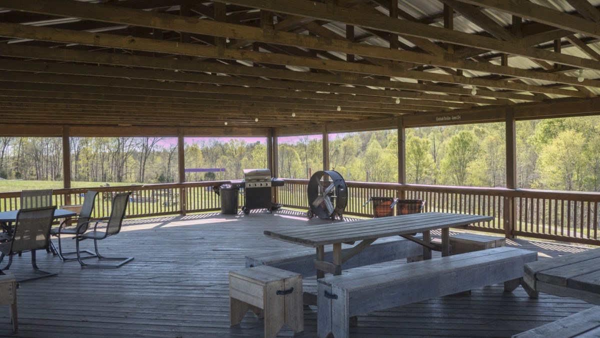 The pavilion can seat 75 people with a scenic view of the property