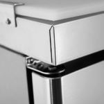 close up of refrigerator prep table bench