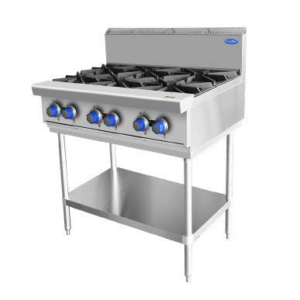 Commercial Kitchen Stovetop on stainless stand