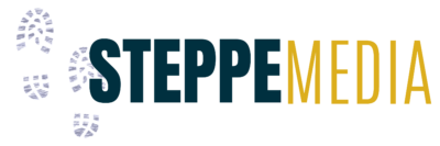 Blue and yellow logo for Steppe Media